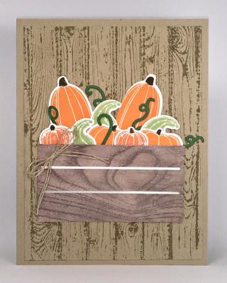 Stampin' Up! Pick a Pumpkin Bundle, Wood Crate Framelits, Hardwood Background Stamp