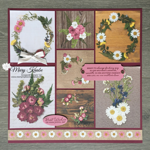Pressed Petals Specialty Designer Series Paper, Path of Petal Bundle, and Everyday Label Punch all from Stampin' Up!