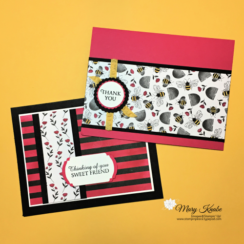Honey Bee Stamp Set, Golden Honey Specialty Designer Series Paper, and Melon Mambo Ink